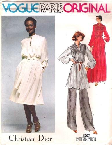 1970s Dior pattern featuring Beverly Johnson, Vogue 1567