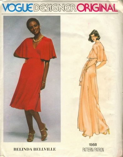 1970s Belinda Bellville pattern featuring Beverly Johnson, Vogue 1568