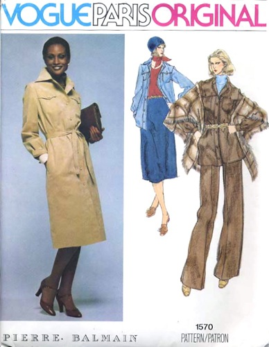 1970s Balmain pattern featuring Beverly Johnson, Vogue 1570
