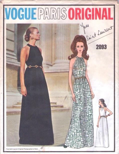 1960s Yves Saint Laurent evening dress pattern - Vogue 2093