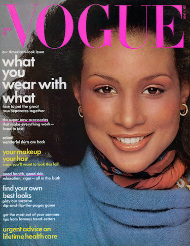 Beverly Johnson photographed by Francesco Scavullo, Vogue magazine August 1974