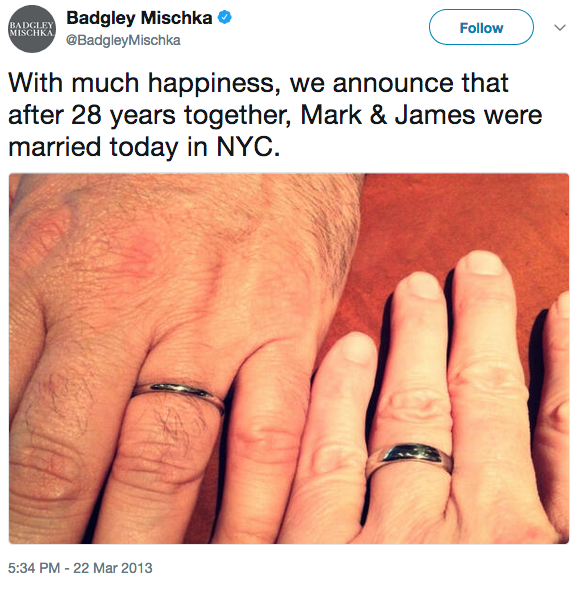 With much happiness, we announce that after 28 years together, Mark & James were married today in NYC.