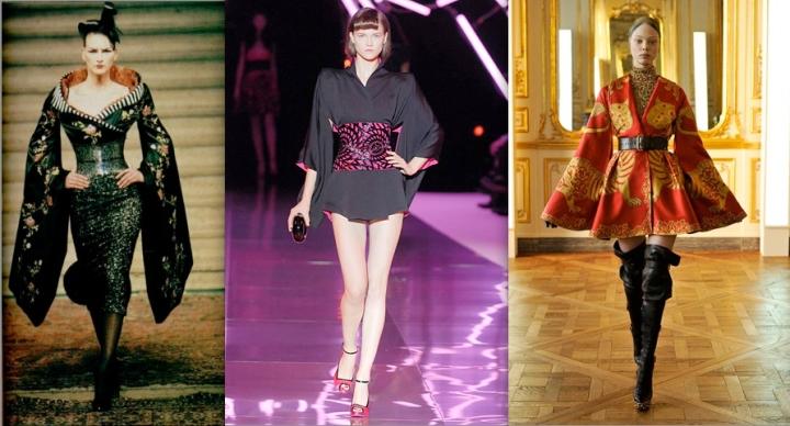 McQueen kimonos: Eclect Dissect Givenchy Couture FW 1997, La dame bleue McQueen SS 2008, McQueen FW 2010