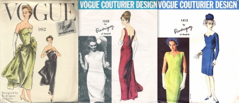 Pedro Rodriguez sewing patterns: Vogue 982, Vogue 1338, and Vogue 1412