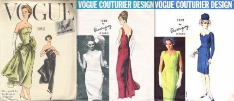 Pedro Rodriguez sewing patterns: Vogue 982, Vogue 1338, and Vogue 1412