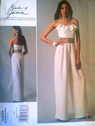 Badgley Mischka Mark + James white, ruffled, strapless jumpsuit pattern - Vogue 1249 (2011)