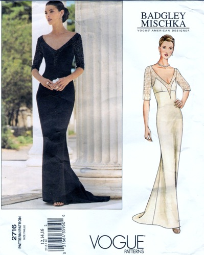 Badgley Mischka evening dress with elbow-length sleeves, train and contrast bodice yoke - Vogue 2716