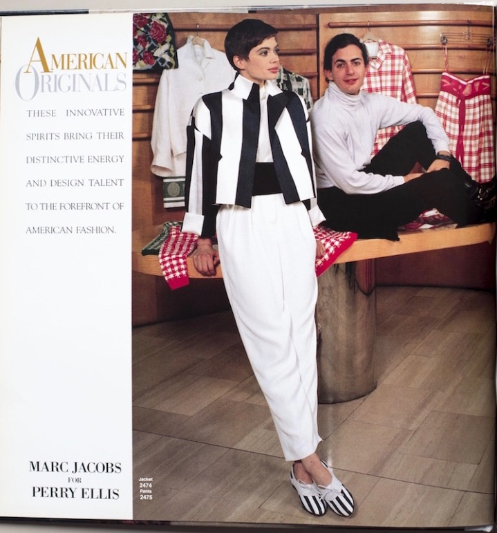 """""""American Originals"""" - Marc Jacobs with model in Vogue patterns 2474 and 2475, ca 1990"""