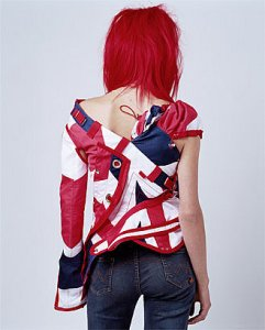 Louise Pedersen models the John Galliano 'Pirate' jacket - back view