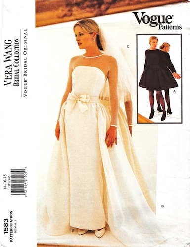 1990s Vera Wang bridal or cocktail dress pattern - Vogue 1583