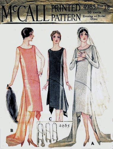 1920s evening or bridal dress pattern - McCall 4985 CoPA-KLS
