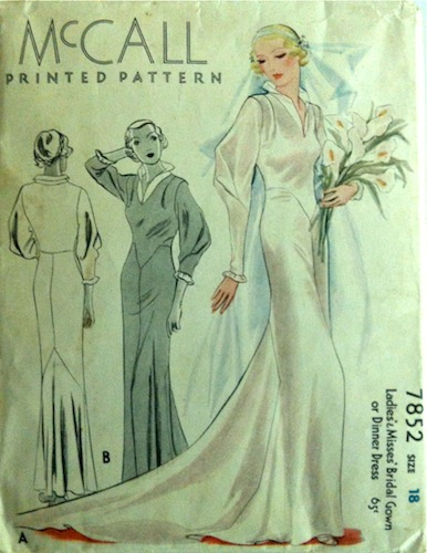 1930s bridal gown or dinner dress pattern - McCall 7852