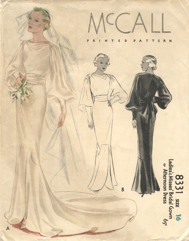 1930s bridal gown or afternoon dress pattern - McCall 8331