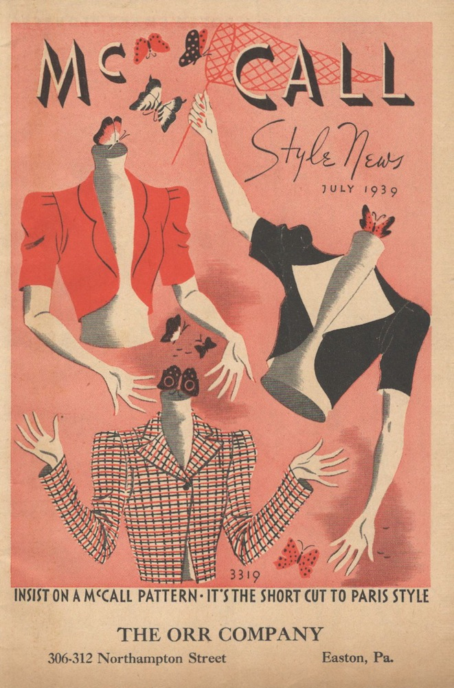 Illustration of headless mannequins catching butterflies - late 1930s McCall Style News