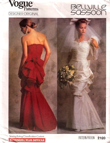 1980s Bellville Sassoon bridal or evening pattern - Vogue 2180