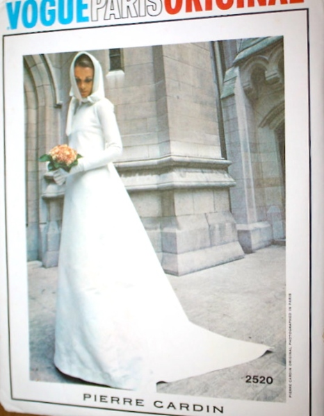 1970s Pierre Cardin bridal gown pattern - Vogue 2520