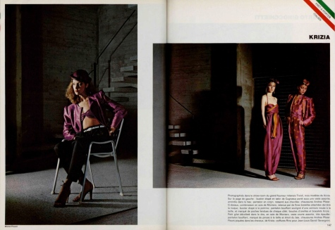 3 Krizia trouser ensembles in L'Officiel, February 1979, photographed by Michel Picard