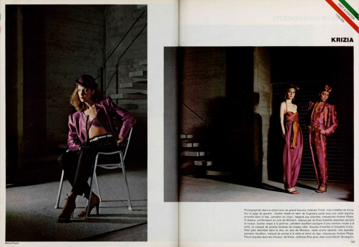 3 Krizia trouser ensembles in L'Officiel, February 1979, photographed by Michel Picard