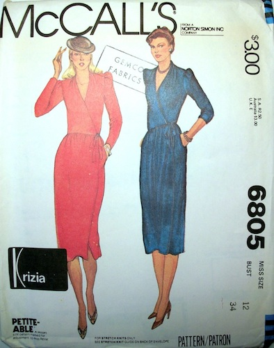 1970s Krizia wrap dress pattern - McCalls 6805 - Petite-able