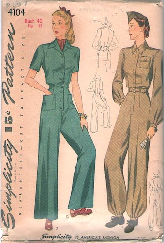 1940s WW2 military coverall pattern - Simplicity 4104 (1942)
