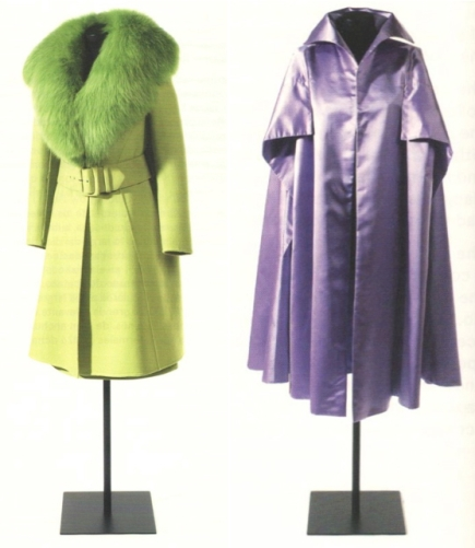 Pedro Rodríguez coats for Maria Brillas: 1970s green wool with fox fur collar and 1950s lilac silk satin