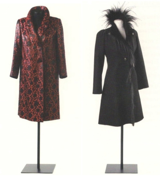 Rodriguez coats for Maria Brillas: 1960s red waxed acetate raincoat and 1970s monkey-hair-trimmed black wool coat