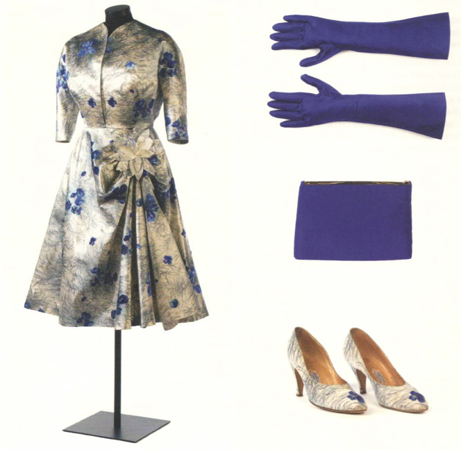 Pedro Rodríguez printed silk satin cocktail dress for Maria Brillas with matching accessories for Maria, mid-1950s