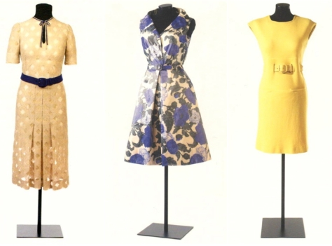 Pedro Rodriguez day dresses for Maria Brillas: 1930s embroidered cotton tulle, 1950s printed silk taffeta, and 1960s canary-yellow double knit