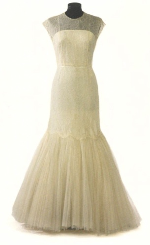 Pedro Rodríguez cream tulle and lace evening gown for Maria Brillas, circa 1950