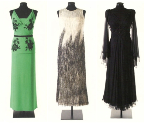 Three Pedro Rodríguez evening gowns for Maria Brillas: 1940s green silk with lace appliqués, 1970s beaded silk gauze and jet-embroidered black silk muslin