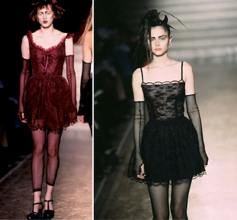 Karen Elson and Tasha Tilberg on the runway, Anna Sui FW 1997