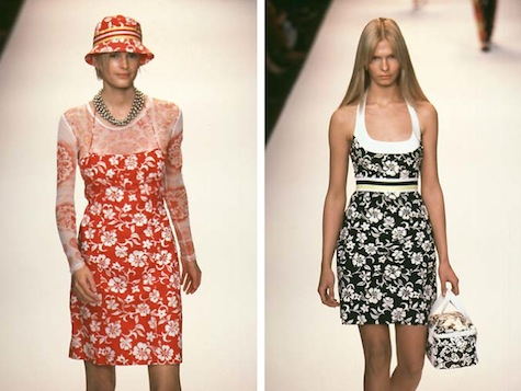 Kylie Bax and Christina Kruse on the runway, Anna Sui SS 1998