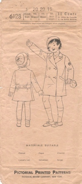 1930s child's coat pattern - Pictorial Review 6128