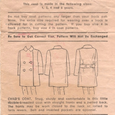 Envelope back with technical drawing of 1930s child's coat - Pictorial Review 6128. Child's coat. Snug, sturdy and comfortable is this little double-breasted coat with straight fronts and a belted back. The fronts may be worn closed to the neck or rolled to form revers. Belt and inserted pockets are optional.
