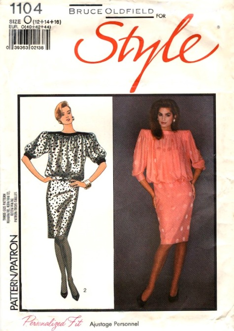 1980s Bruce Oldfield dress pattern feat. Cindy Crawford - Style 1104