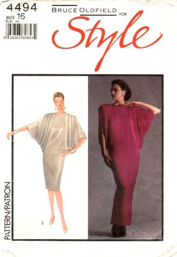 1980s Bruce Oldfield caftan-style dress pattern - Style 4494
