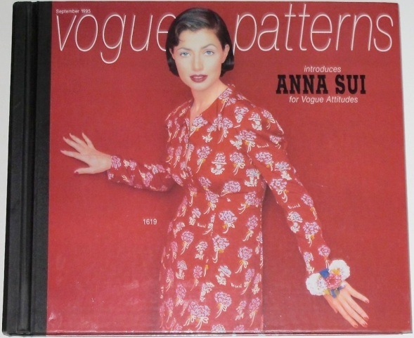 1990s Anna Sui dress pattern V1619 on the cover of Vogue Patterns catalogue, September 1995