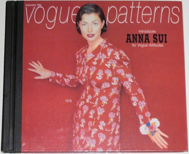 Anna Sui's Vogue 1619 on the cover of Vogue Patterns catalogue, September 1995