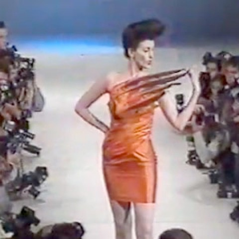 1980s orange taffeta 'Macaw' dress by Antony Price