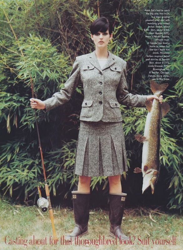 Stella Tennant in Anna Sui, with rubber boots and fishing rod, photographed by Arthur Elgort, 1995