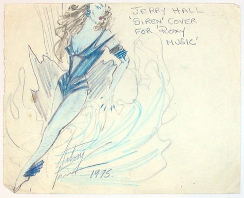 "Antony Price sketch for Jerry Hall's ""Siren"" costume"