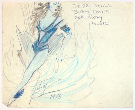 """Antony Price sketch for Jerry Hall's """"Siren"""" costume"""