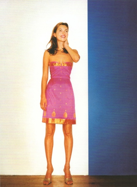 Strapless silk sari dress with gold appliqués, Terry Richardson photo of Kate Moss in Anna Sui, Harper's Bazaar, January 1998