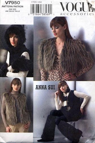 Anna Sui fun fur accessories pattern - Vogue V7950