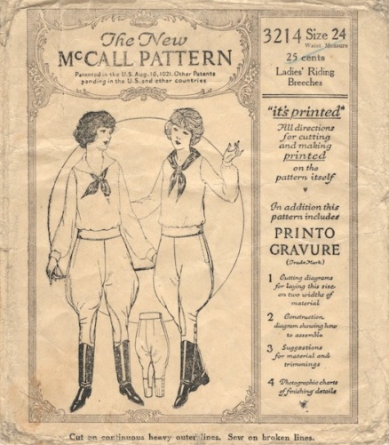 1920s jodhpurs sewing pattern - McCall 3214