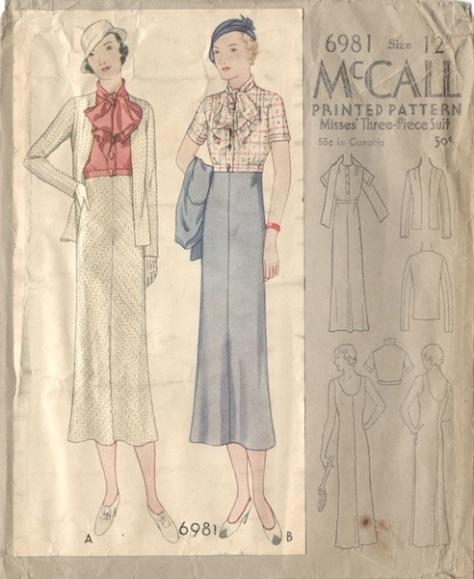 1930s Schiaparelli sewing pattern - McCall 6981