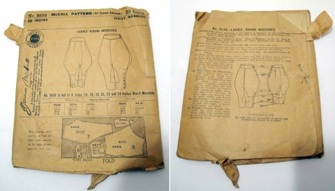 Early 1920s riding breeches pattern - McCall 9536