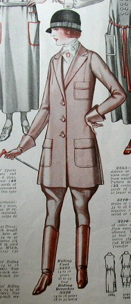 1920s McCall Quarterly illustration of a riding jacket and jodhpurs