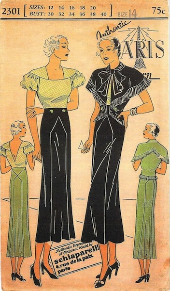 1930s Schiaparelli sewing pattern - Paris Pattern 2301