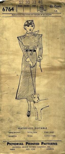 1930s Schiaparelli dress pattern - Pictorial Review 6764